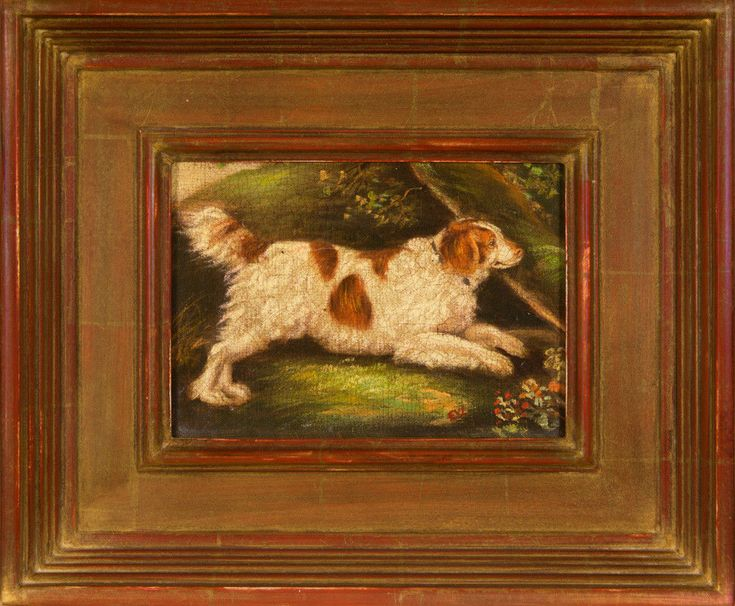 ORIGINAL VINTAGE OIL PAINTING OF ENGLISH WATER SPANIEL DOG, AFTER HENRY BERNARD  #Impressionism