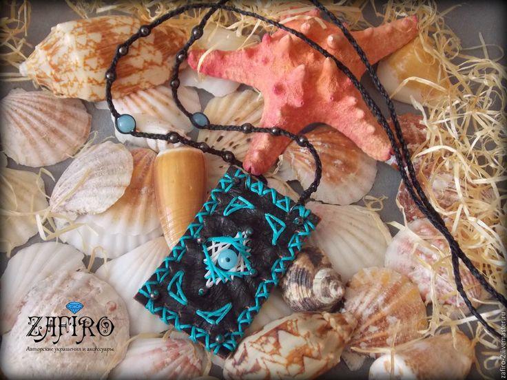 Купить Бохо кулон из натуральной кожи с вышивкой и натуральными камнями - разноцветный, кулон из кожи