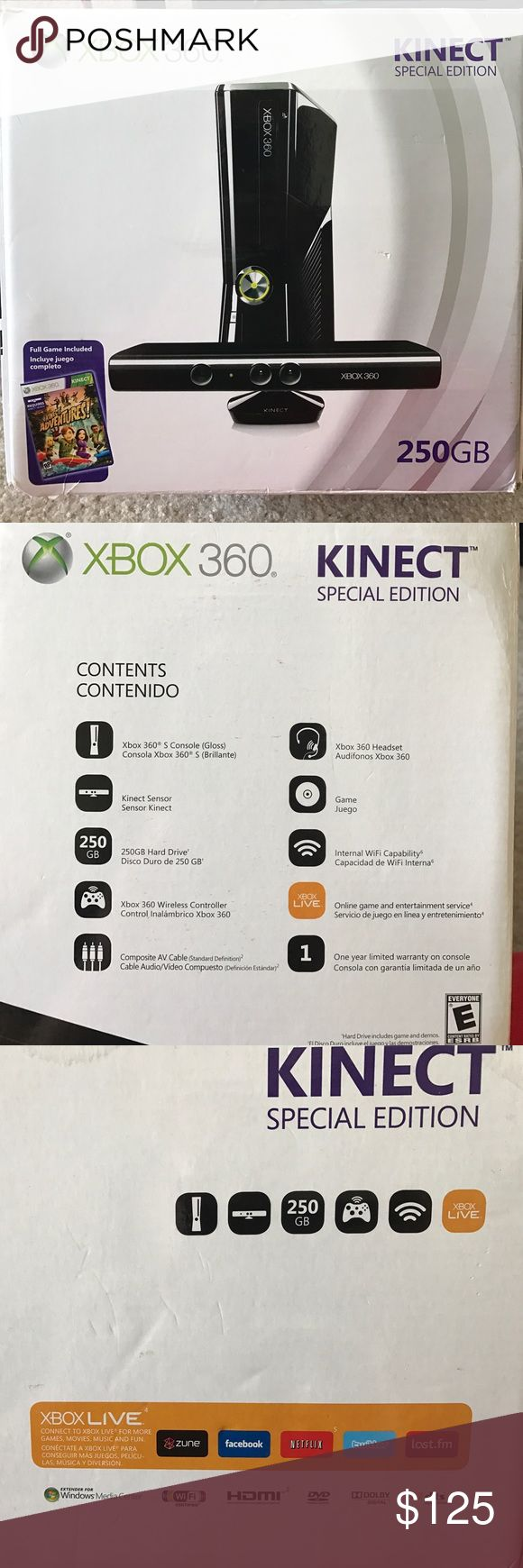 🎮 XBOX 360- KINECT Special Edition/WIFI  🎮 This XBOX is in great shape! Shiny Black color. Only used a couple of times! Headset and game are not included. It does have TWO wireless controllers and a charging dock for the controllers. HDMI cable is also included. The extra remote, charging dock and HDMI were purchased separately. XBOX LIVE compatible. Other