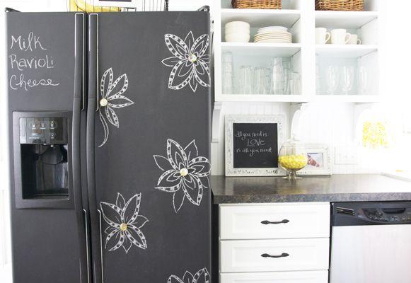 chalkboard painted fridge: Diy Ideas, Kitchens Updates, Paintings Fridge, Paintings Ideas, Chalkboards Refrig, Chalkboards Paintings, Chalk Boards, Great Ideas, Chalkboards Fridge