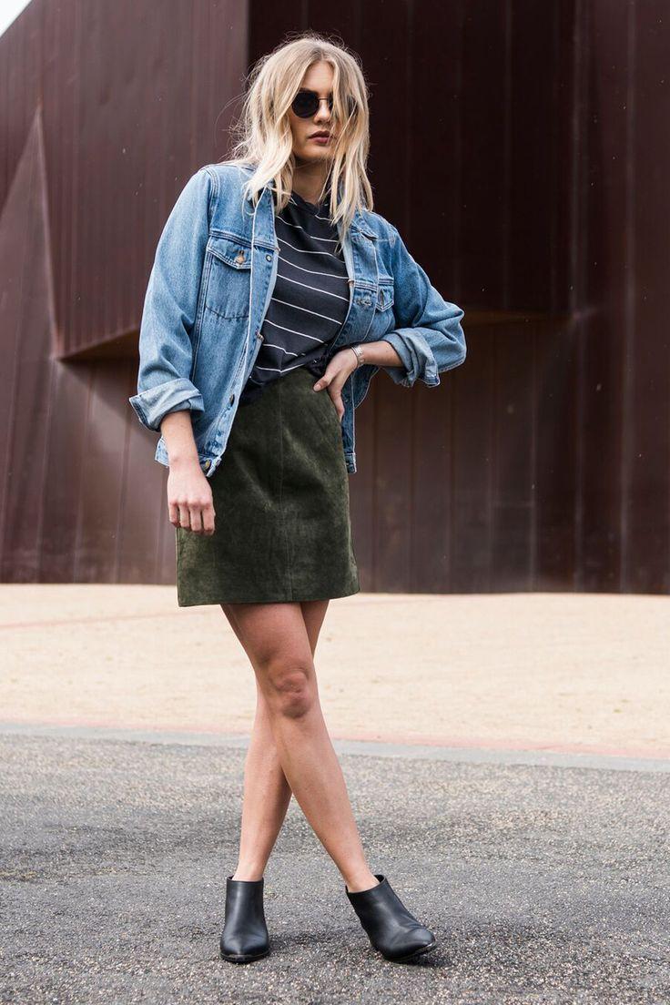 ENA PELLY - Suede Mini Skirt | Khaki