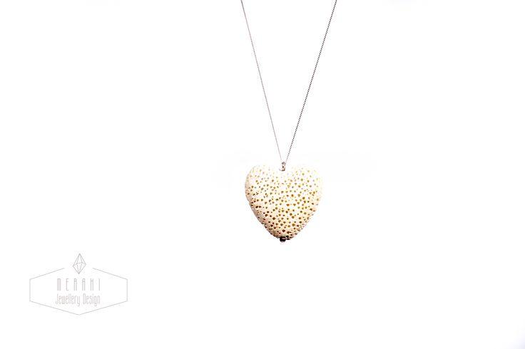 White lava heart necklace www.merakijewellerydesign.com
