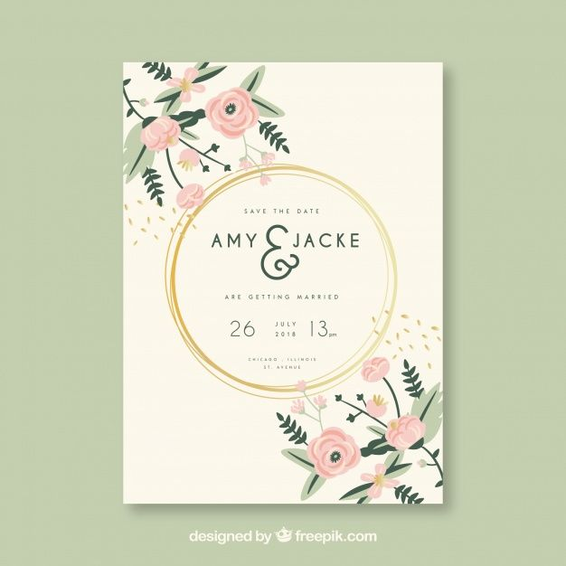 Wedding Invitation Card With Flowers Download Thousands Of