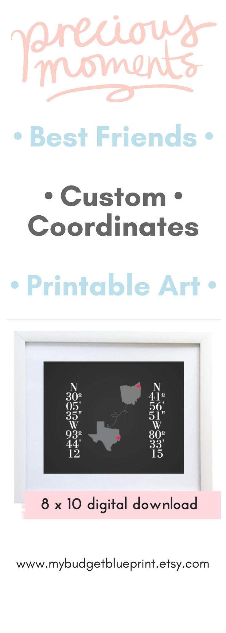 Long Distance Best Friend Gift, Digital Download, Custom Coordinates Printable, Latitude Longitude, Long distance, Housewarming Gift, JPEG