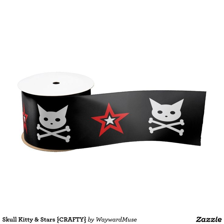 Skull Kitty & Stars {CRAFTY} Satin Ribbon