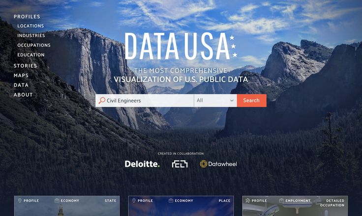 Data USA, a project by the M.I.T. Media Lab and Deloitte, is free to use and its software code is open source, so that developers can build custom applications.