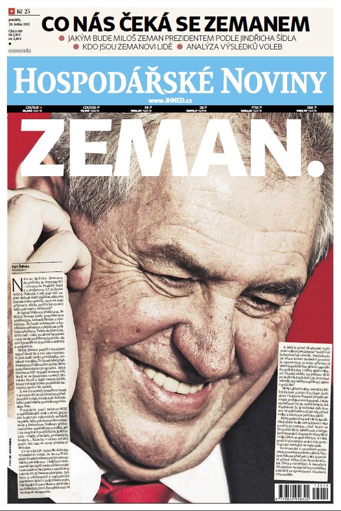 Zeman. Hospodářské Noviny 28.1.2013