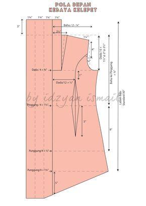 Pola kebaya kelepet / kebaya pattern with collar                                                                                                                                                                                 More