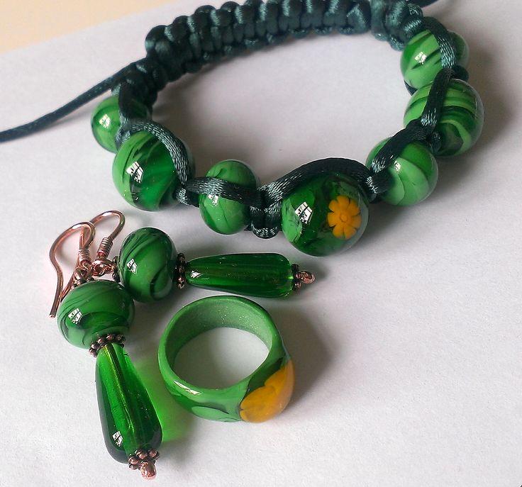 Зеленый комплект. Lampwork/