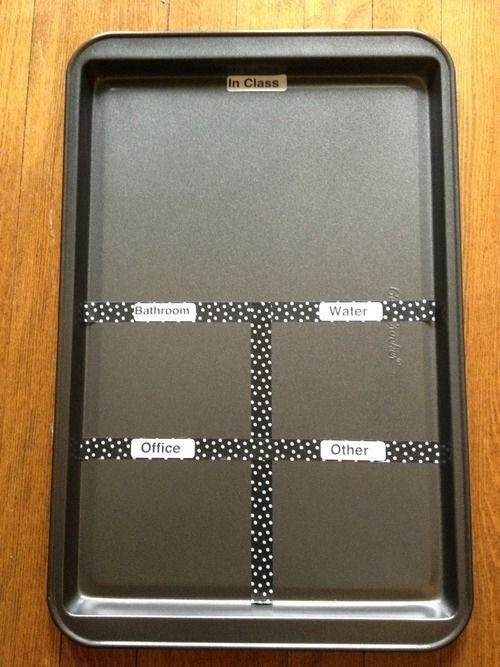 Een magneet bord dat eigenlijk een overnplaat is.... 35 Money-Saving DIYs For Teachers On A Budget