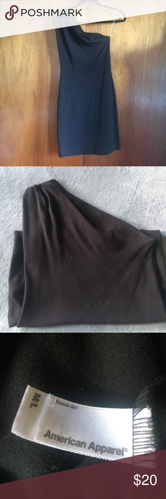 """American Apparel Black One Shoulder Dress American Apparel """"Classic Girl"""" Black, one shoulder dress. Cotton stretch material. Worn once. Looks like new. Dresses One Shoulder"""