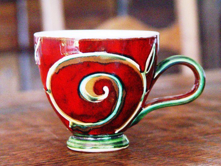 Pottery Coffee Mug, Red Ceramic Mug, Tea Mug, Cute Mug, Unique Mug, Handmade Mug, Danko Pottery, Ceramic Gift, Artistic Pottery by DankoHandmade on Etsy https://www.etsy.com/listing/237158736/pottery-coffee-mug-red-ceramic-mug-tea