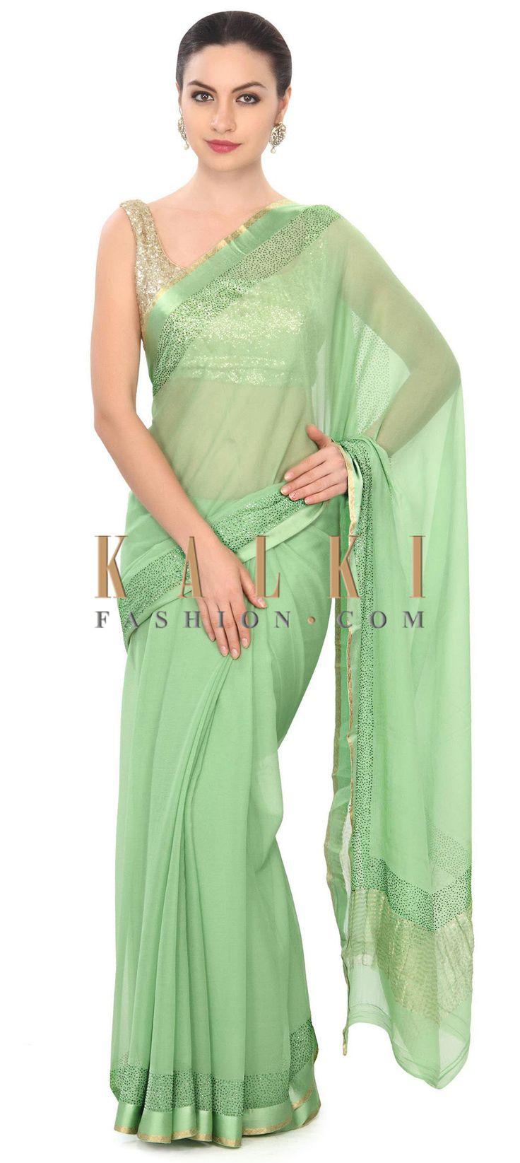 Buy this Green saree highlighted in kundan border only on Kalki