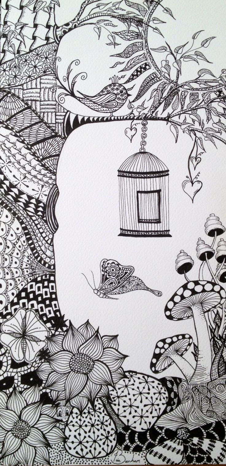 Zentangled Garden.  This is my second zentangle. I like drawing normal objects and scenes then putting a zentangle design within them. Can you see my little frog behind the flowers?