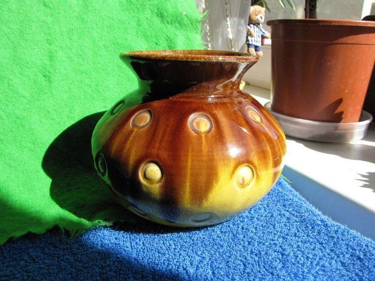 Vintage Vase marked BO Brown Yellow Craquelure