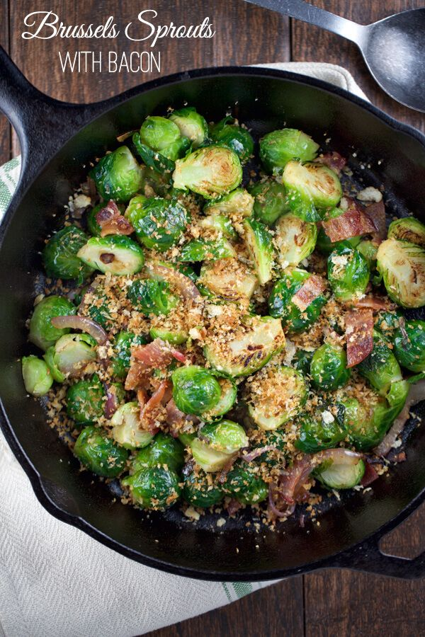 Sautéed Brussels Sprouts with Bacon Recipe via @foodiegavin