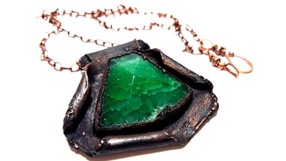 Minimalist Electroformed Copper Pendant with Green Agate
