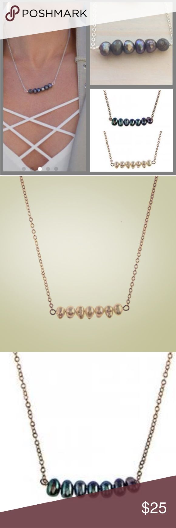 """Real Gray or White Pearl Bar Necklace, NWT This simple, yet modern bar necklace features grey or white fresh water pearls with their wonderful iridescent shimmer. Comes beautifully gift boxed.🛍😊   16""""-19"""" Length   Quality 14K Gold Plated Chain   Beaded Bar= 1 ½"""" length zoky doky Jewelry Necklaces"""