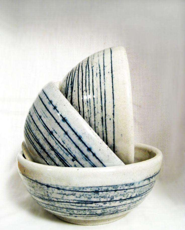 White and Blue Striped Stoneware Wheel thrown ceramic bowls, glazed pattern, I like the colors and the pattern