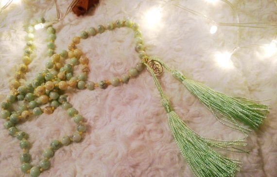Spring Beaded Knotted Japa Mala 108 by CinnamonJane on Etsy