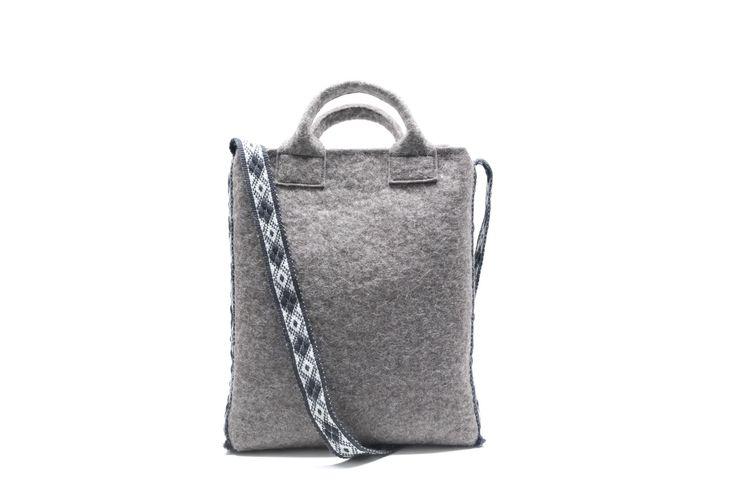 handmade vertical felt tote bag with handwoven crossbody strap