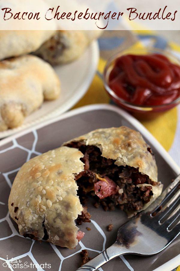 Bacon Cheeseburger Bundles ~ Rhodes Dinner Rolls stuffed full of cheese, hamburger and bacon!