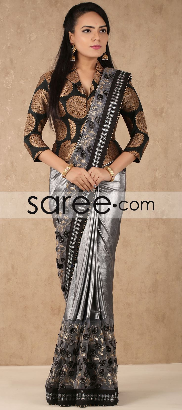 Grey and Silver Satin Saree with Sequins Work