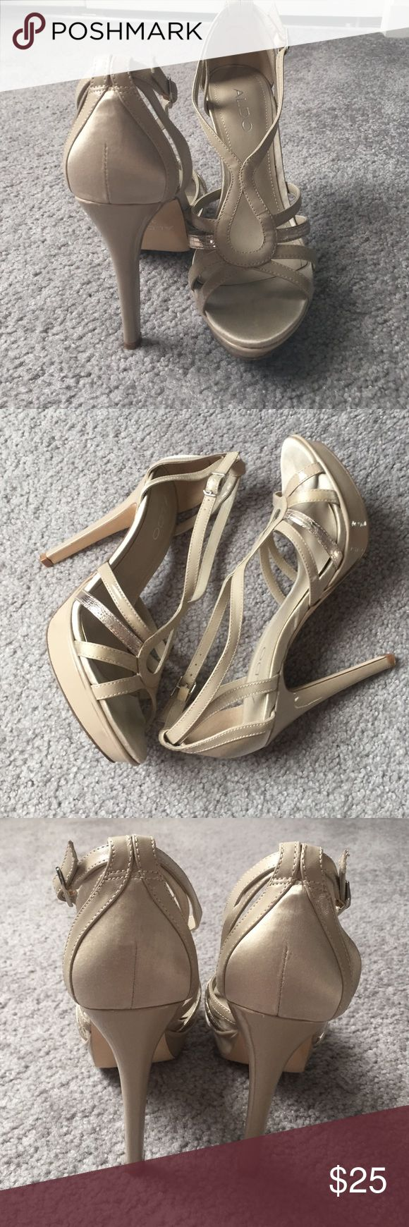 Aldo heels Beautiful strappy Aldo heels, this is a nude/champagne color. Only wore these once for a wedding. No scuffs or stains. Accepting all reasonable offers! Do not have the box. Heel height is 4 inches and platform comes in at 3/4. Aldo Shoes Heels