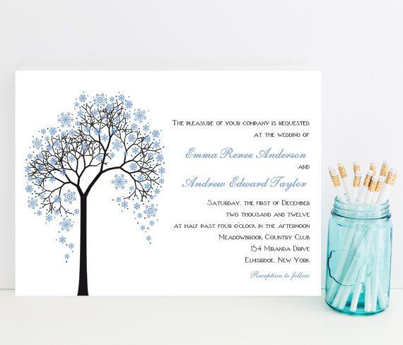Winter Wedding Invitation  Winter Theme Wedding by Whimsicalprints