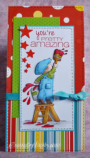 handmade greeting card from A Scrapjourney ...Lily of Valley stamp ... Vintage Boy painting ... luv how Debby made it look like he's painting the sentiment ... tall and narrow ... bright and colorful .,, delightful!