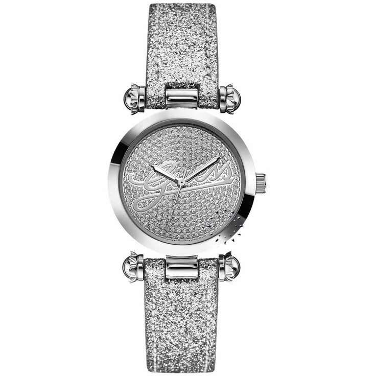 GUESS Crystal Logo Glitz Silver Leather Strap  125€  http://www.oroloi.gr/product_info.php?products_id=30174