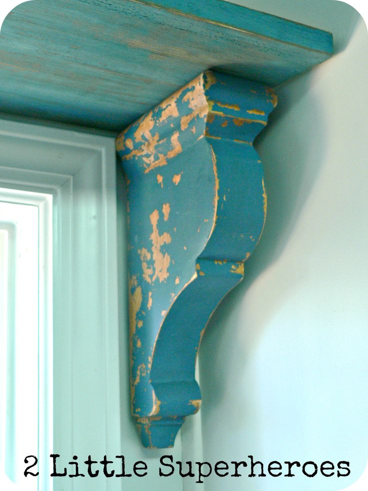 Corbels painted with Milk paint.  The site gives tips on how to get the aged look.  Very interesting!
