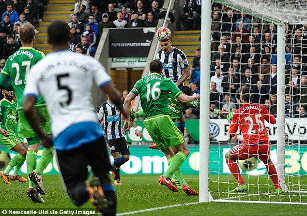 The Serbian striker Aleksandar Mitrovic rises above the Sunderland defence to power home Newcastle's equaliser in the Tyne-Wear derby which ended 1-1