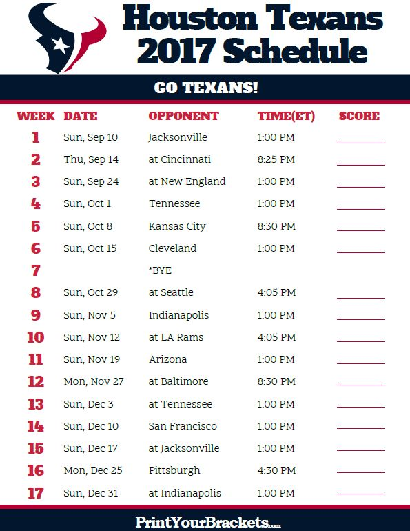 2017 Houston Texans Football Schedule