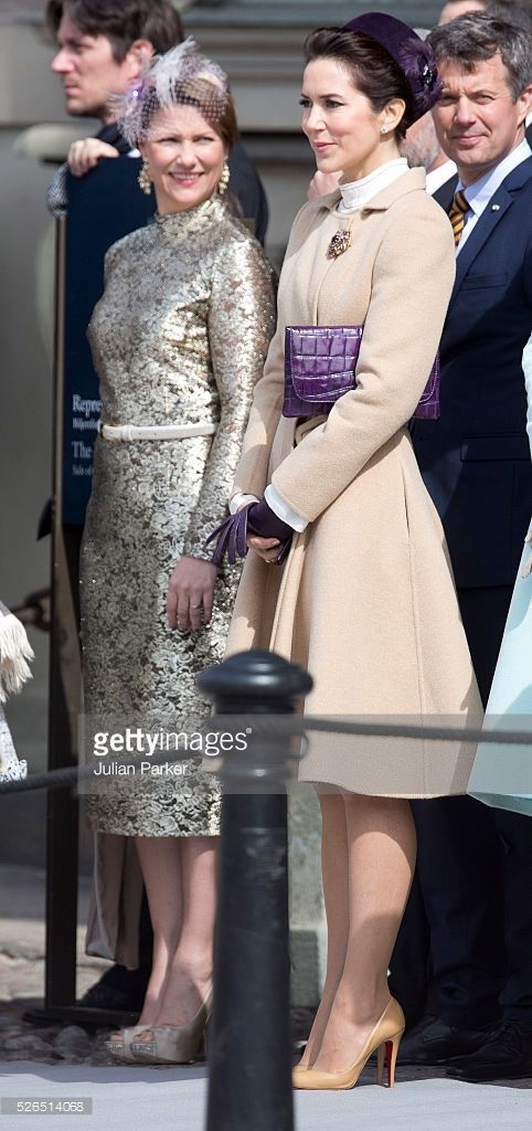 April 30, 2016--Princess Martha Louise of Norway and Crown Princess Mary of Denmark attend The Swedish Armed Forces Celebration, in the Outer Courtyard at The Royal Palace in Stockholm on the occasion of King Carl Gustaf of Sweden's 70th Birthday, on April 30, 2016, in Stockholm, Sweden.