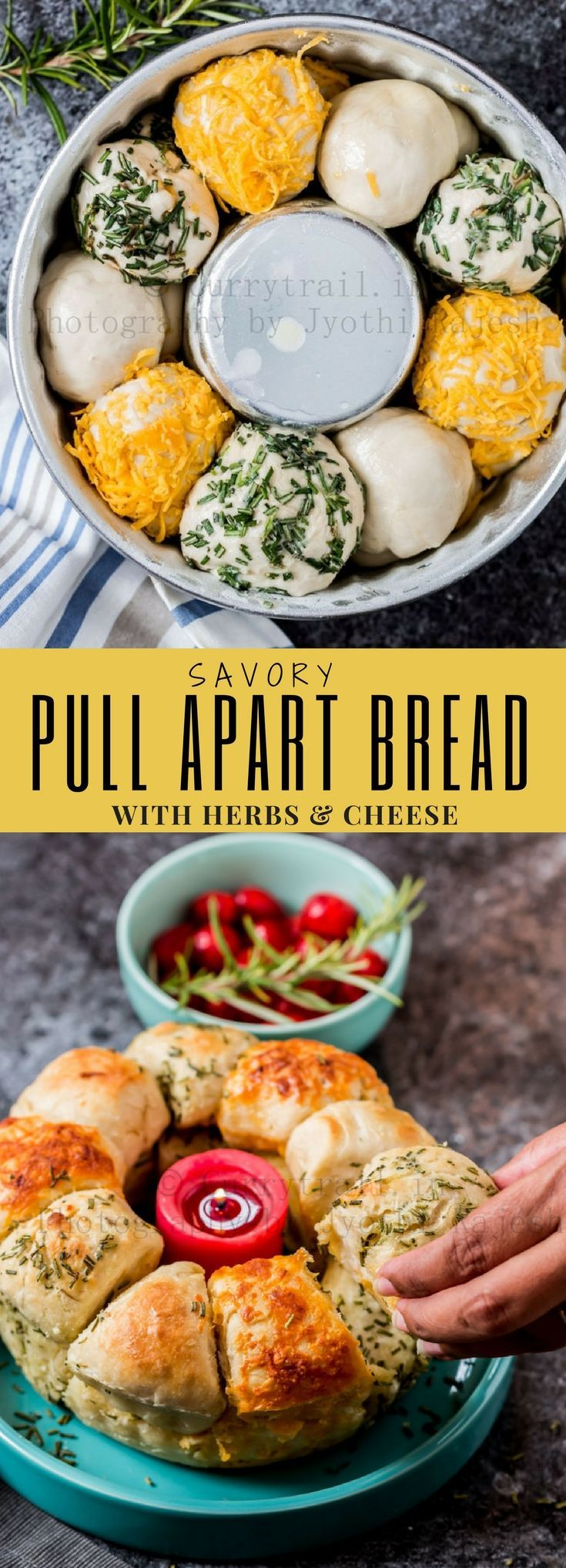 Make this savory cheese and herbs pull apart bread all from scratch. Garlic butter, fresh aromatic herbs, cheese - it can't get better than this. It's incredibly delicious and you can serve weeknight dinner along with soup.  #cheesypullaprtbread #garlicpullapartbread