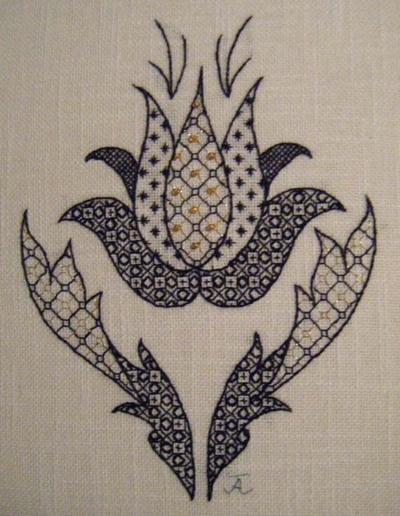 Blackwork Tulip Embroidery Pattern