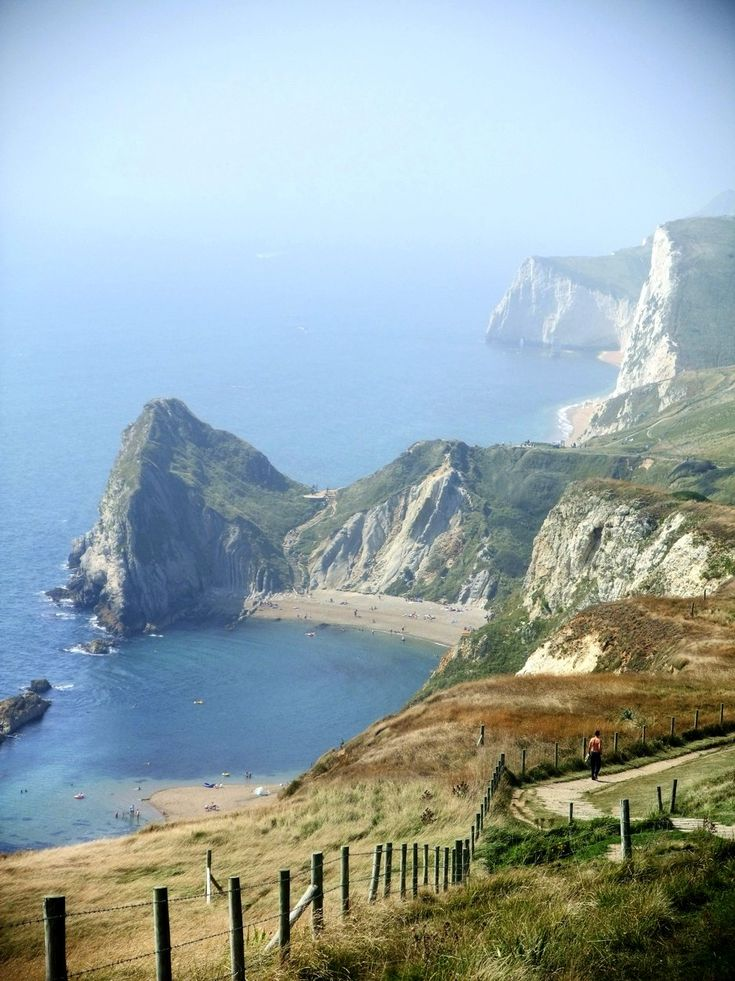 St. Oswald's Bay on the Dorset's Jurassic Coast, England, with Swyre Head and Bat's Head further along