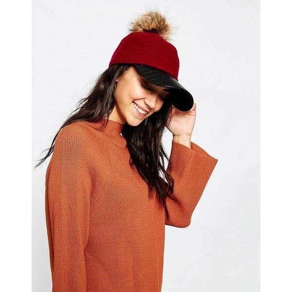 7X Wool Mix Baseball Cap With Removeable Faux Fur Pom Pom ($27) ❤ liked on Polyvore featuring accessories, hats, red, pom pom baseball hat, red hat, ball cap hats, crown baseball cap and baseball cap hats