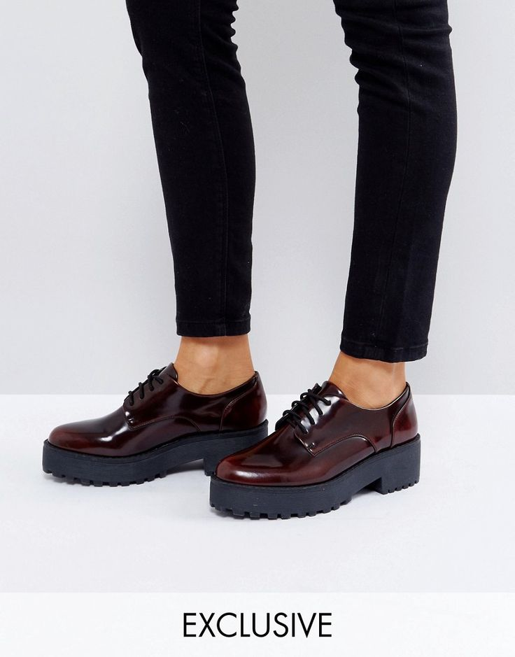 Monki Ombre Patent Brogue - Red