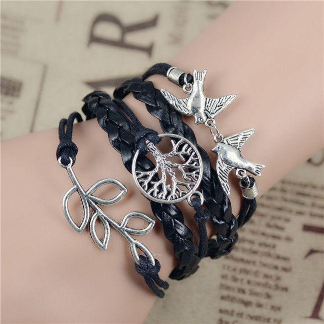 Смешайте бесконечность любовь кожаный любовь сова лист шарм ручной браслет браслеты ювелирные изделия дружба подарочные изделия купить на AliExpress