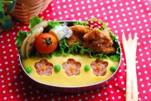 お花オムライス - てしぱんさんの簡単かわいいおべんとさん レシピブログ - 料理ブログのレシピ満載!