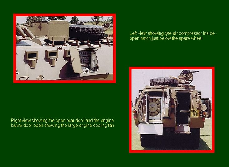 SADF.info  RATEL Left view showing tyre air compressor inside open hatch just below the spare wheel.  Right view showing the open rear door and the engine louvre door open showing the large engine cooling fan.