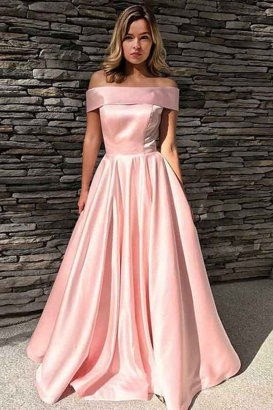 8048b334dbc Gorgeous Ball Gown Off the Shoulder Satin Peach Long Prom Dresses with  Pockets