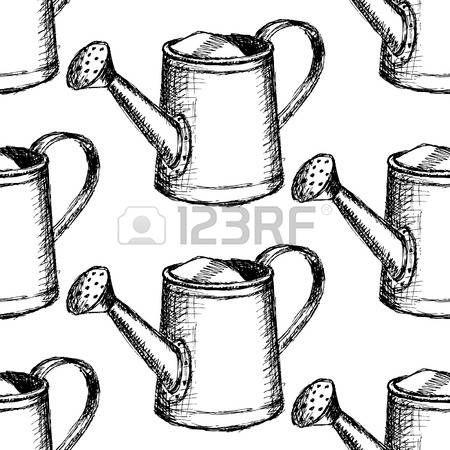 jardineria riego sketch puede vendimia sin patrn vectores
