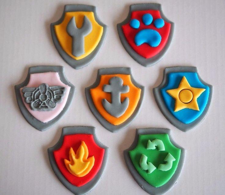 12 x PAW PATROL CUPCAKE TOPPERS Edible Sugar Paw Patrol Badges Logo's Cake Decor | eBay