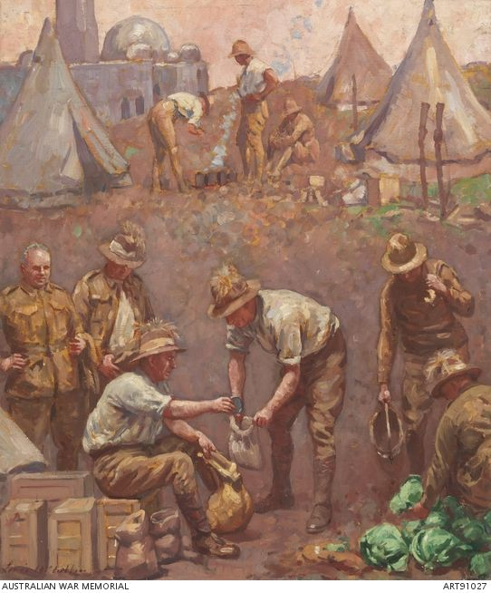 Issuing rations by Louis McCubbin. Troop orderlies are issuing rations of bully beef, biscuits, tea, sugar and salt to the section orderlies, Beersheba, 1930. This is eighth in a series of eight paintings accompanying the Palestine dioramas. The series illustrates the Egyptian Labour Corps and the Camel Transport Corps transporting supplies (food, water, clothing and medical supplies) from Deir el Belah on the Mediterranean coast of Palestine through the desert to the troops in battle.