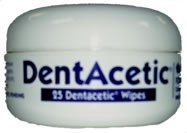 $8.10-$12.99 DentAcetic Wipes are a convenient method to remove plaque and prolong the interval between Dental cleanings. Contains Acetic Acid and Sodium Hexametaphosphate (HMP), DentAcetic which effectively brightens and whitens teeth (the acetic acid effect). Cleaning is by mechanical means utilizing the uneven surface of the wipes and the potent degreasing ability of acetic acid. HMP is a comm ...