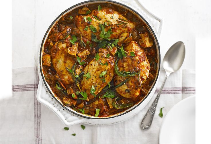 The classic Italian 'hunter's stew' gets a healthy makeover, with low-fat chicken breasts, prosciutto and a rich herby tomato sauce.