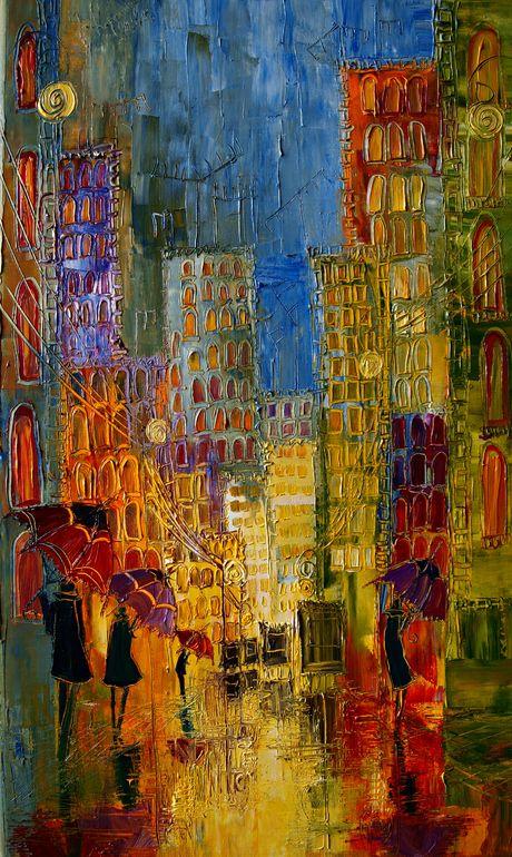 Street by Justyna Kopania - oil painting  LOVE.